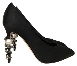 Chanel Snake Stiletto Pearl Chain Crystal black Pumps