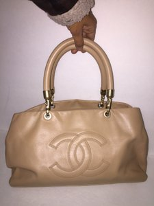 Chanel Modern Lambskin Leather Gold Tote in Beige