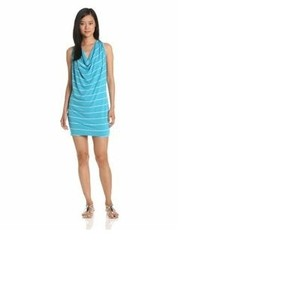 Michael Stars short dress Turquoise & White Striped on Tradesy