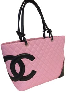 Chanel Cambon Quited Lambskin Diaper Black Tote in pink