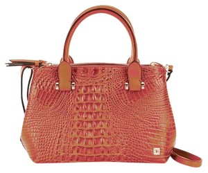 Kate Landry Faux Leather Faux Croco Satchel in Tan