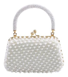 Others Follow Princess Atlas Beaded WHITE Clutch