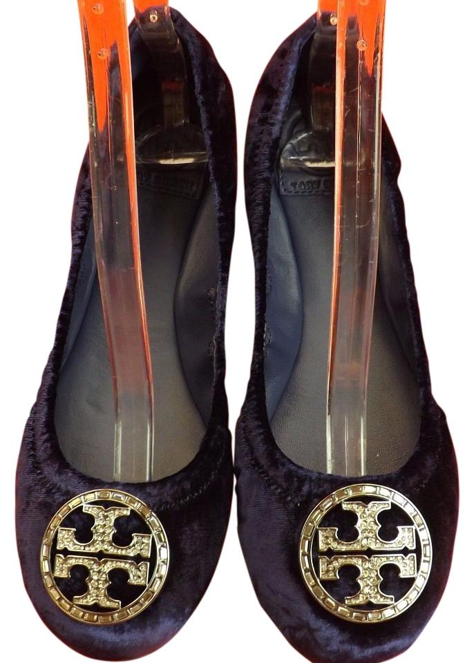 4284f63da2f Tory Burch Blue Notte Violet Velour Silver Crystals Reva Flats Size ...