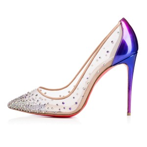 Christian Louboutin Pigalle Heels Loubs Strass Purple/Met Gloss/Nude Pumps