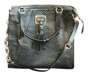 Elliott Lucca Crocodile Leather Chain Link Tassel Gold Accents Shoulder Bag