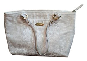 Brahmin Leather Crocodile Embossed Gold Accents Sophisticated Tote in White