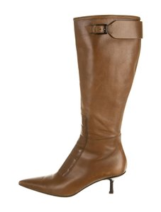Gucci Leather Pointed Toe Light Brown Boots
