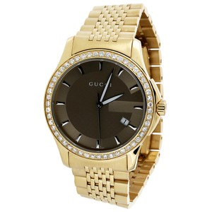 Gucci Gucci YA126406 Diamond Watch Brown Dial Stainless Steel Gold PVD
