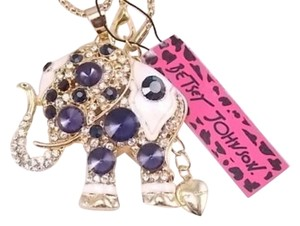Betsey Johnson New Betsey Johnson Gold Blue Elephant Necklace J3057