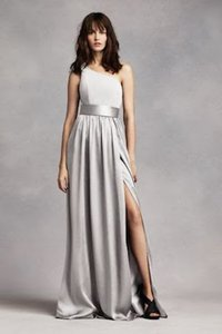 Vera Wang Sterling David's Bridal One Shoulder Dress With Satin Sash Dress