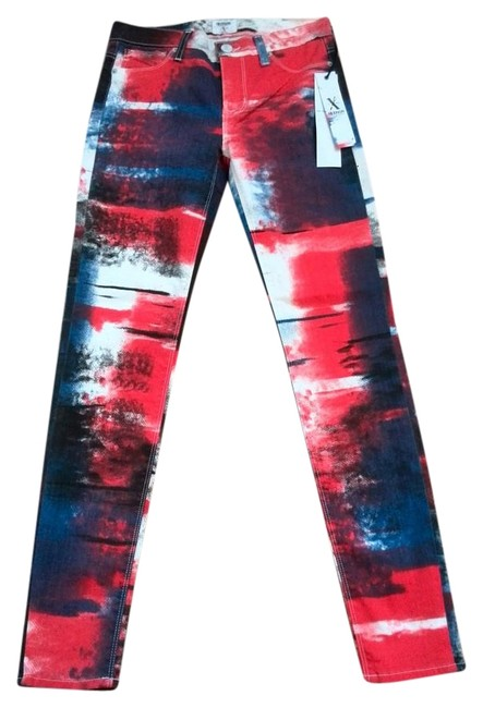 Item - Red Blue and White Light Wash Skinny Jeans Size 26 (2, XS)