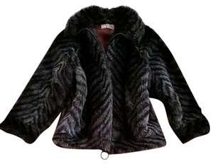 Saks Fifth Avenue Vintage Faux Fur Chevron Fur Coat