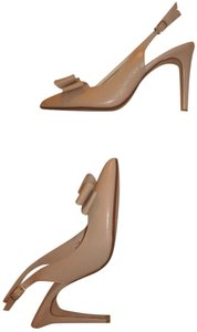 14th & Union New Slingback Pointed Toe Bow Leather Nude Pumps