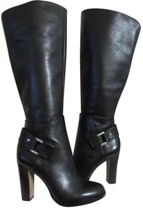 Vince Camuto Silver Buckle Leather High Heel Tall black leather Boots