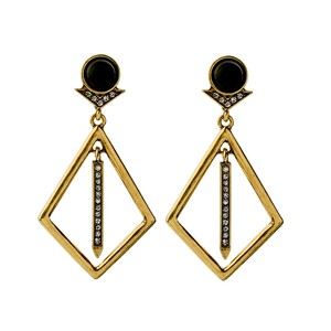 Other Black Stone Crystal Gold Point Statement Earrings