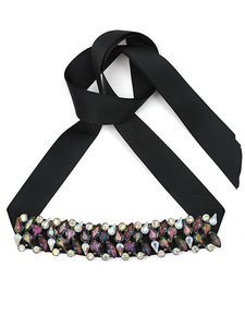 Other Black Ribbon Multicolor Crystal Choker Necklace