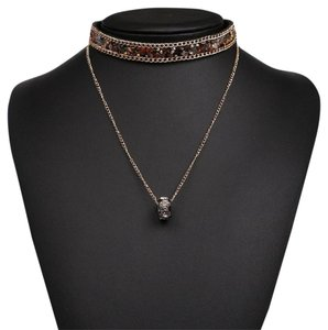 Other Druzy Natural Stone Brown Earth Tone Crystal Choker Necklace