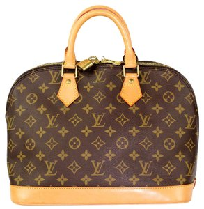 Louis Vuitton Alma Monogram Canvas Totes Satchel in Brown