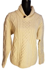 ORVIS Made In Ireland Fishermans Cable Knit Shawl Collar Sweater