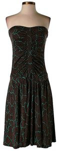 Diane von Furstenberg Strapless Silk Print Ruched Dress