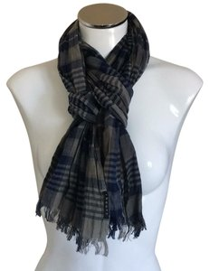 Theory grey and blue plaid scarf