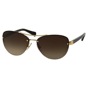Ralph Lauren RA4113-307113 Aviator Women's Gold Frame Brown Lens 56mm Sunglasses