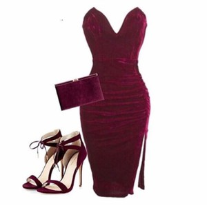 Society of Chic Velvet Velvet Red Dress