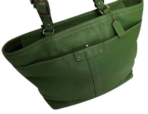 Coach Pebbled Leather Tote in Green