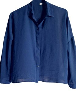 Divided by H&M Sheer Comfortable Date Night Button Down Shirt Blue