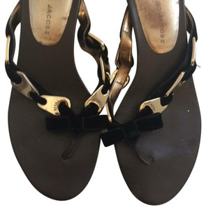 Marc by Marc Jacobs Gently Worn Gold Detail Mule black Sandals