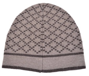 Gucci Gucci 281600 Men's 100% Diamante Taupe Brown Beanie Ski Winter Hat