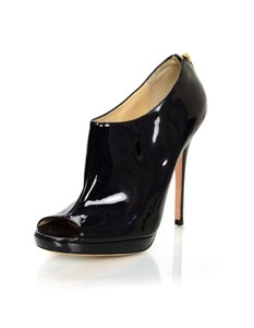 Jimmy Choo Patent Leather Open-toe Ankle Heels black Boots