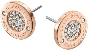 Michael Kors Michael Kors Pave Logo Stud Earrings/ Rose Gold tone