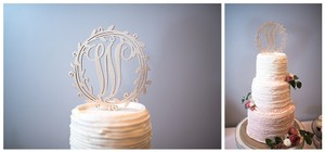 Gold W Cake Topper - Rustic, Wooden