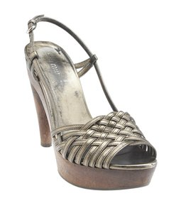 Miu Miu Sling Backs Heels Sandals Wooden Heel Silver Pumps