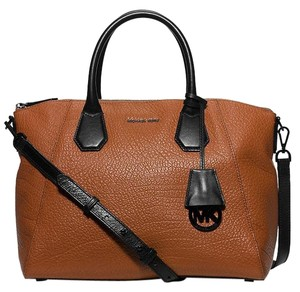 Michael Kors Leather Large Brown Satchel in Walnut / Black