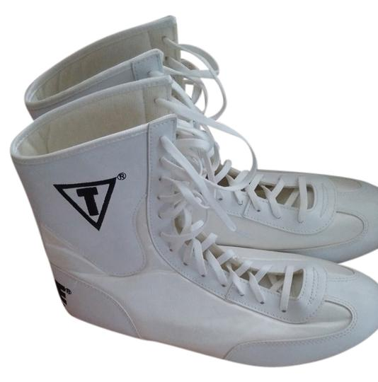 Title Boxing hi top shoes White with black lettering Athletic