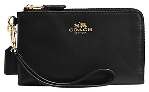 Coach Coach F64581 Double Corner Zip Black Leather Wristlet