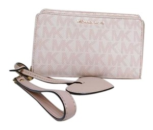 Michael Kors Michael Kors Pink Jet Set Monogram Double Zip Phone Wristlet Wallet