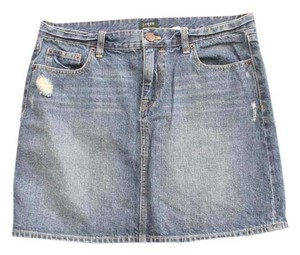 J.Crew Basic Jean Skirt Pencil Straight Fit Mini/Short Shorts Blue