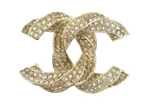 Chanel 16C Golden Twisted Pale Pink Crystal CC Brooch