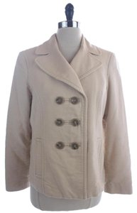 Ann Taylor Cotton Pea Coat Beige Jacket