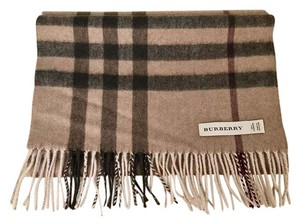 Burberry Burberry Large Check Smoked Brown Cashmere Scarf