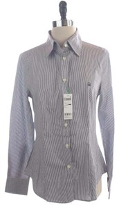 United Colors of Benetton Striped Down Button Down Shirt Blue