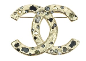 Chanel 16A Brushed Gold Glass Jewel Pearl Crystal CC Brooch