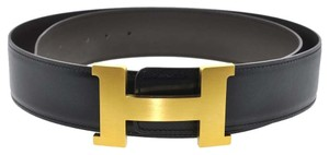 Hermès Hermes Gold Tone H Buckle & Reversible Men's Belt