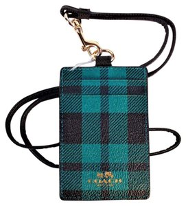 Coach Holiday Riley Plaid Lanyard ID Key Holder Card Case Wallet NWT F55992