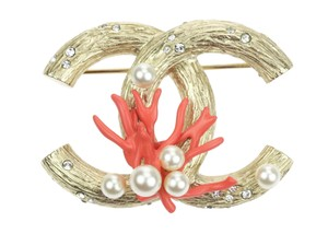 Chanel 12P Gold Coral Pearl CC Brooch