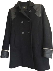 Maje Leather Buttons Wool Cashmere Pea Coat