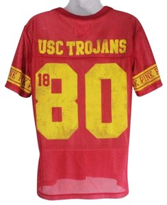 PINK Usc College Football T Shirt Red and Gold